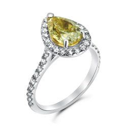 fancy yellow pear shape halo diamond ring